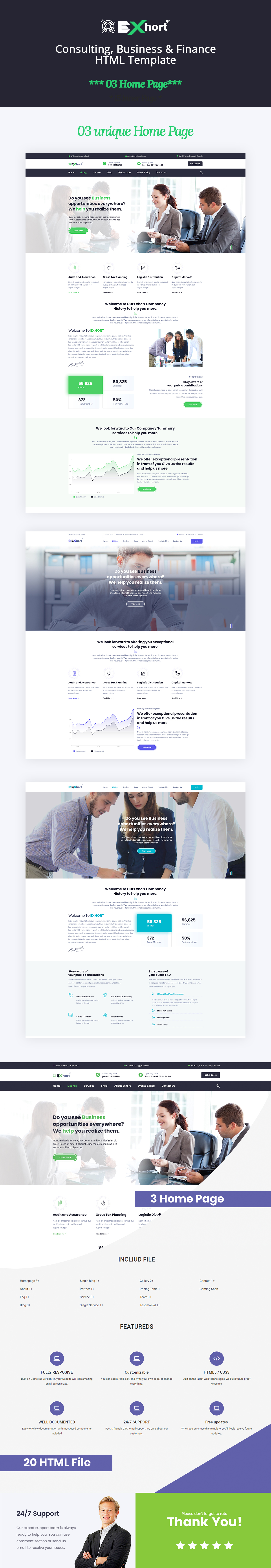 Exhort - Consulting, Finance, Business Bootstrap 4 Template